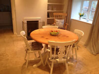 Lovely Round Shabby Chic Pine Table and 4 Chairs