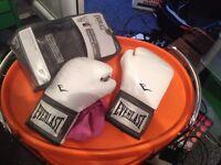 Ladies 12 oz. boxing gloves White with wraps