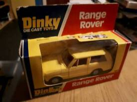 Vintage dinky toys range rover in rare yellow in original box