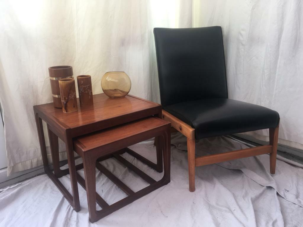 G PLAN Ercol style chair TEAK and leather 1960 1970 MID CENTURY