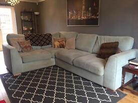 DFS corner sofa with ottoman - light blue