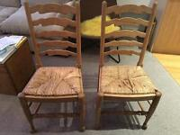 2x Solid Wood Antique Dining Chairs