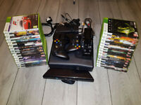 XBOX 360 Slim 250GB with 2 Controllers, Kinect + 29 Games