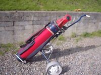 Ben Sayers Ladies Golf bag red ,trolley and clubs in very good condition,see list of clubs