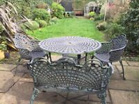 Vintage Cast Iron Table, 2 x chairs and Bench seat