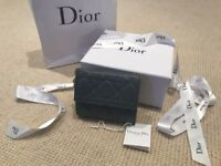 Lady Dior Medium Wallet Lambskin Grey Blue RRP £450 NEW WITH TAGS