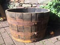 Oak half barrel Planter / pot