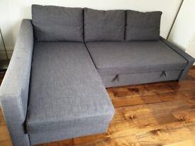 IKEA FRIHETEN Corner sofa-bed with storage, Skiftebo dark grey