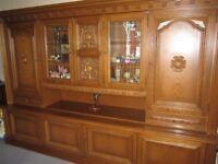 Suit Farmhouse Massive German Oak SHRANK Wall unit Display cabinet Carvings Lights Keys Drawers