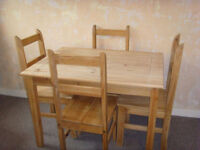 Corona Mexican Pine Dining Table and 4 Chairs - FREE DELIVERY