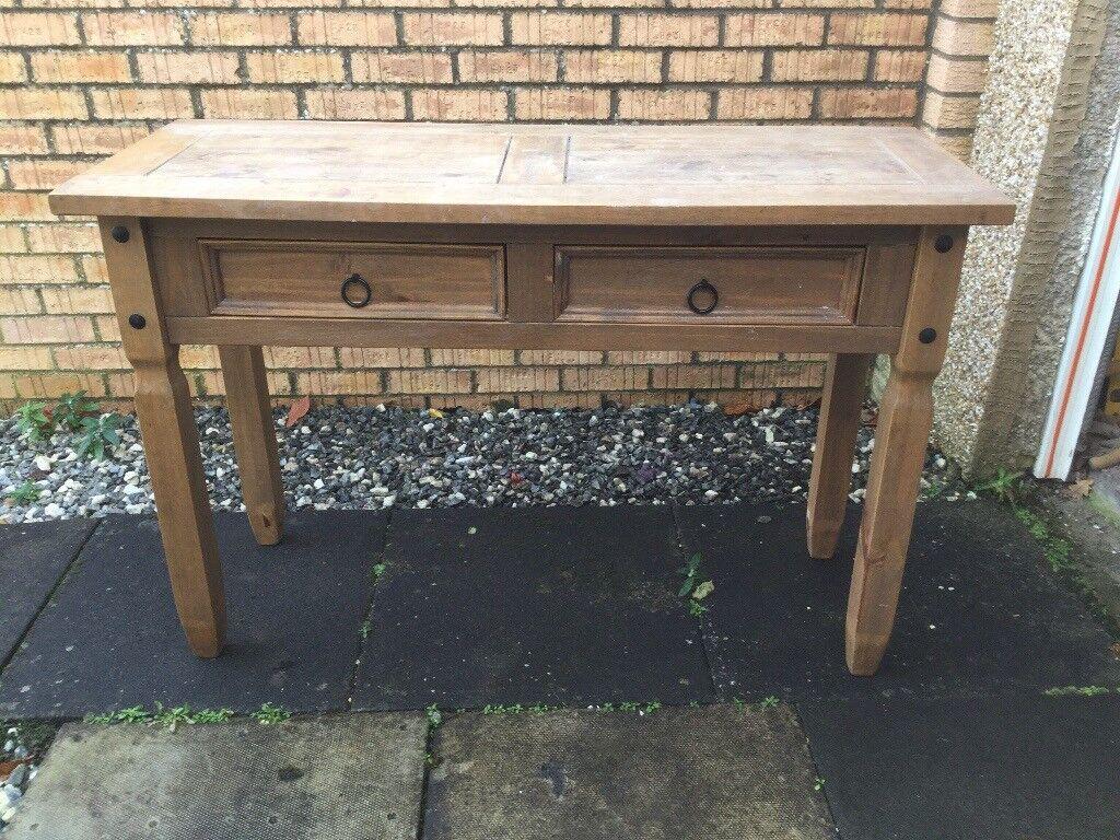 Dark pine dressing table, solid wood