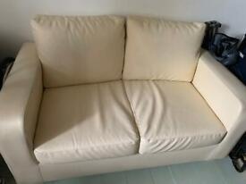 2 seater sofa - cream leather - free to uplift