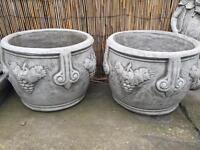 Pair large stone grape vine plant pots, lovely detail. New