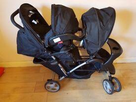 Graco stadium duo pushchair and newborn carseat.