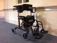Combination wheelchair and rollator in red.