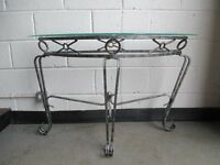 AGED EFFECT BOW FRONTED METAL AND GLASS CONSOLE TABLE HALL TABLE FREE DELIVERY