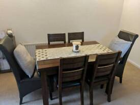 6 seat extendable dining table solid wood dark walnut colour