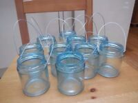 10 Blue tint hanging glass jars/tealight holders - perfect for weddings or garden decor