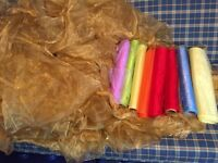 organza job lot gold colour & 8 rolls of organza 10 pieces of gold 1m c 50cm wide by 2m 80cm long