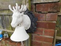 VINTAGE CAST IRON FARM HOUSE DOOR BELL IN THE FORM OF A STAGS HEAD CAN DELIVER