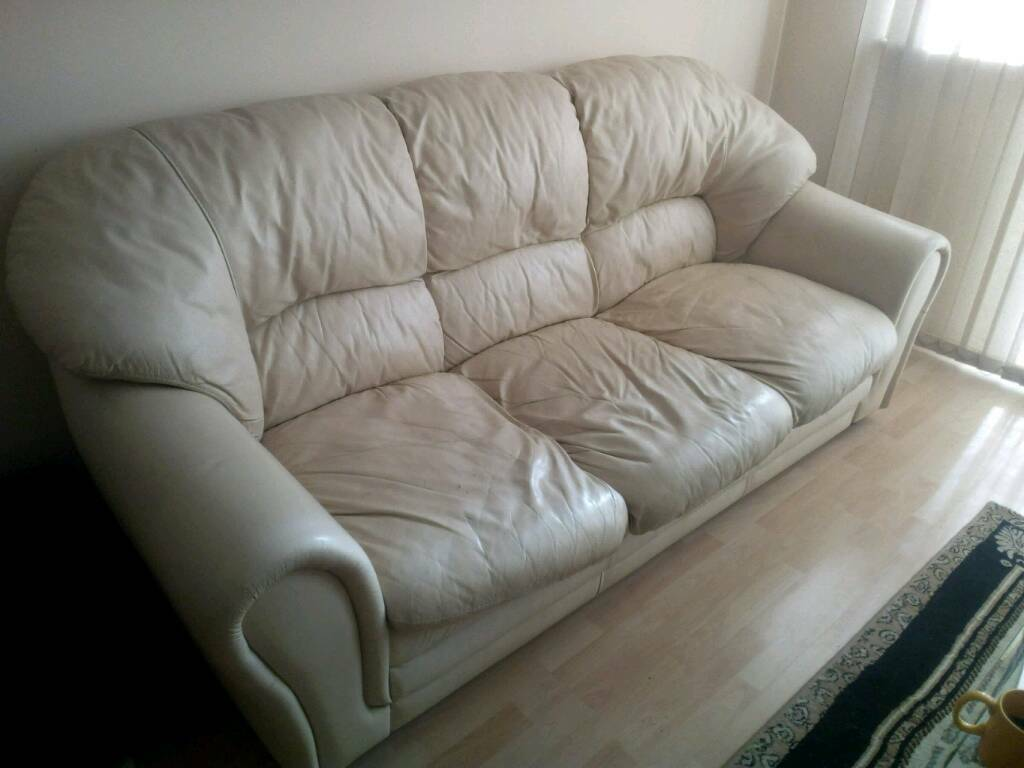 Soft leather sofa and chair