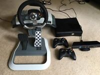 Xbox 360s, games, Kinect, headset, steering wheel and pedals.