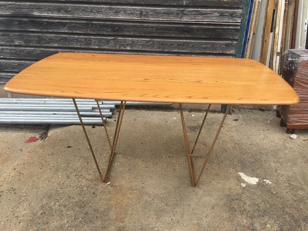 Mid Century Modern Kitchen Table   Vintage Retro Ercol Blonde Kitchen Dining Table Office Work Desk Mid