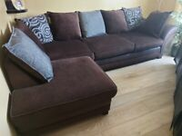 material and leather corner sofa