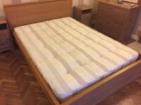 Oak frame double bed with good quality mattress.