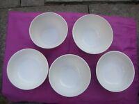 5 Smart White Porcelain & Stoneware Bowls /// Tesco / Sainsburys / Debenhams / Ethos / Unmarked