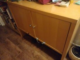 URGENT SALE - Pine-coloured, medium-sized 2 door cupboard with 4 shelves MAKE ME AN OFFER