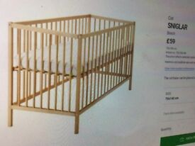 Ikea cot, good condition. Dismantled and ready to go.
