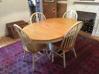 Extending wooden kitchen/dining table and chairs