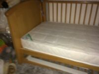 Cotbed and silent night mattress never been used