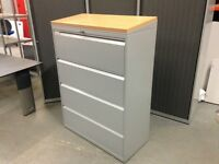 HERMAN MILLER 4 DRAWER FOOLSCAP LATERAL FILING CABINET, OAK SLOPING TOP @ £65, 14 AVAILABLE
