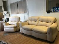 Cream Leather Set - Electric Recliner Chair & 2 Seat Sofa - Delivery Available
