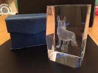 Glass etched German shepherd dog