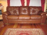 Large Brown Leather Sofa (7ft long)
