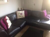 Black Leather Corner Sofa with Foot Stool