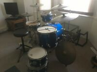 Drum Kit - Ideal Studio Kit/First Kit (incl. Romo Skins Yamaha Hi Hat Stand, Quality Stool) £350 ono