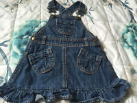 Baby Girls Denim Dungaree Dress 12-18 Months