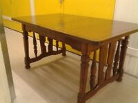 Carved dining table,solid oak,extendable,145-190cm,very stable & heavy,no chairs