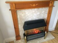 ELECTRIC FIRE MARBLE HEARTH WITH WOODEN SURROUND