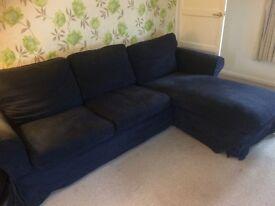 Dark Blue L Shaped Sofa £90 ono