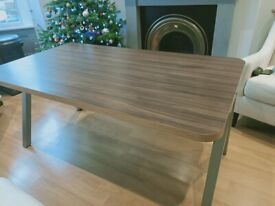 Large wood and metal table