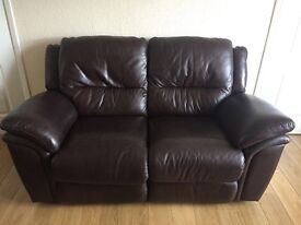 Good condition 2&3 seater brown leather sofa