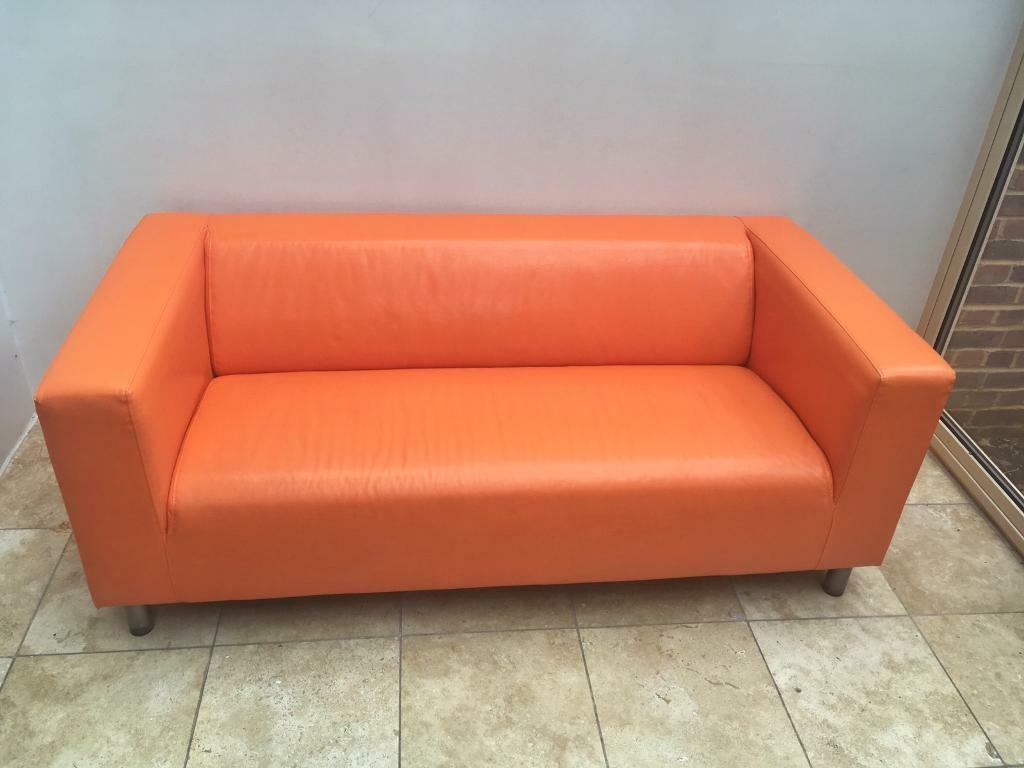 orange leather ikea klippan sofa in lewes east sussex gumtree. Black Bedroom Furniture Sets. Home Design Ideas