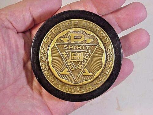 YMCA Service Award Paperweight - vintage brass & Bakelite?