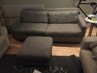 HABITAT GREY FABRIC COUCH AND FOOT STOOL - NEAR NEW