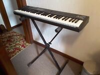 Korg X5D synthesizer keyboard with stand